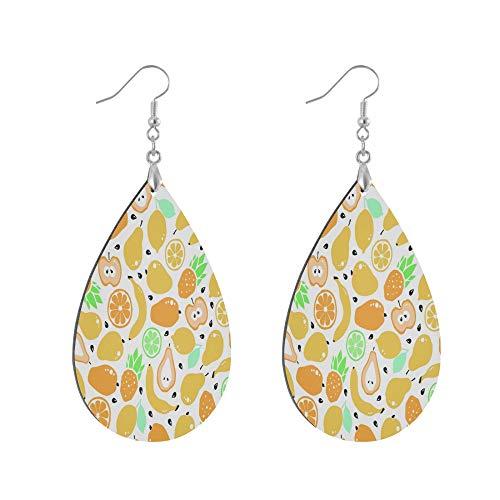 ADMustwin Wooden Earrings Fruit Lemon Banana Peal Print for Women Girls Silver Plated Copper Earrings Teardrop Earrings Lightweight Dangle Earrings Fashion Jewelry