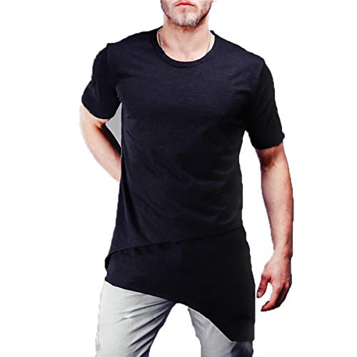 SSBZYES Camiseta para Hombre Camiseta De Manga Corta De Color Sólido para Verano Nueva Camiseta De Manga Corta Código Europeo Casual Color Sólido Dobladillo Oblicuo Cuello Redondo Parte Superior