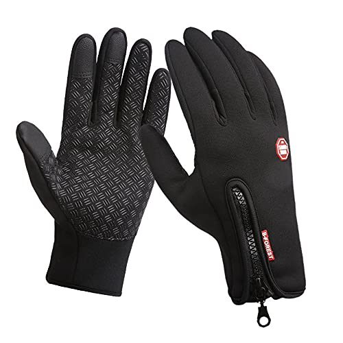 Aisprts Cycling Gloves, Full Finger Winter Thermal Touch Screen Warm Windproof Waterproof Gloves for Men and Women (Black, M)