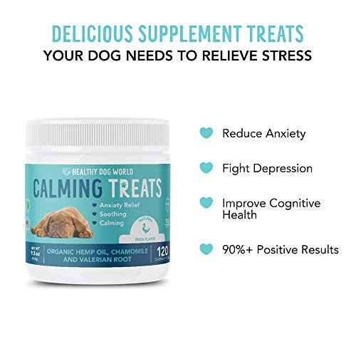 Healthy Dog World Hemp Calming Treats for Dogs - All-Natural Soothing Snacks with Hemp + Valerian Root, Stress & Dog Anxiety Relief- Aids with Thunder, Fireworks, Chewing & Barking (Duck,120ct)