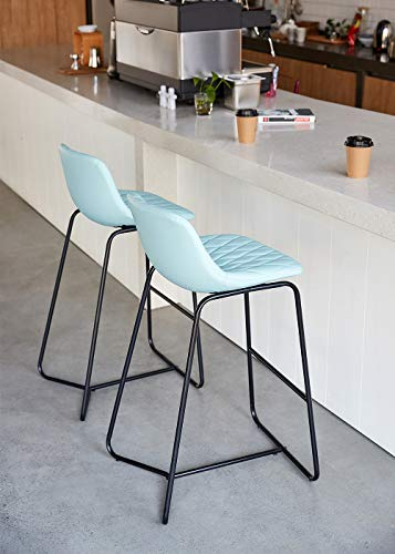 Qulomvs Bar Stools with Back 30 inches Counter Height Barstools Set of 2 PU Leather Bar Chairs for Kitchen and Patio (Teal)