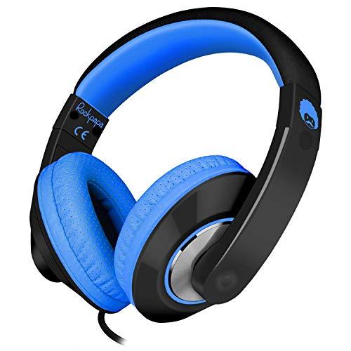 Rockpapa Comfort+ Adjustable Over Ear Headphones Earphones with Microphone in-line Volume for Adults Kids Childs Teens, Smartphones Laptop Tablet DVD MP3/4 in Car/Airplane Black Blue