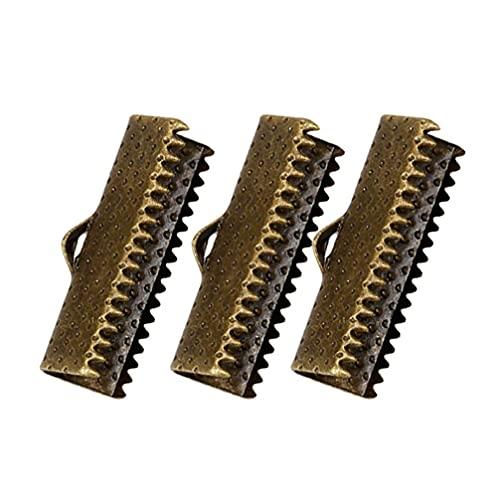 LIXBD 100 unidades de extremos de cinta de metal para pulseras con cierre de cordón de color rosa, cierres de cuero para hacer joyas, manualidades, 2,5 cm (blanco) (color: bronce)