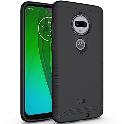 TUDIA DualShield kompatibel für Moto G7 / Moto G7 Plus Hülle, [Merge] Stoßfeste Dual Layer Slim Hard PC Weiche TPU Militärische Schutzhülle für Motorola Moto G7 / Moto G7 Plus - Matt Schwarz
