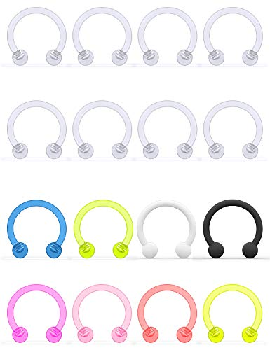 Yaalozei 16G Clear Lip Rings Hoops Nose Septum Eyebrow Rings Flexible Acrylic Cartilage Helix Rook Daith Earrings Piercing Jewelry Retainer Plastic Horseshoe Barbell for Work 8mm