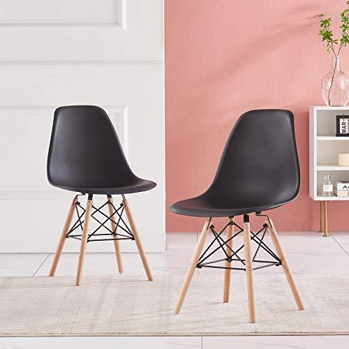 AINPECCA Esszimmerstühle, 2 Stück, Eiffel-Stühle, Kunststoffsitz, mit massiven Buchenholz-Beinen, Dressing Lounge Home Schwarz