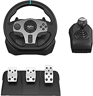 PXN V9 Simulate Racing Steering Wheel with Clutch, Shift Lever Pedals, Manual Gear Operation 270/900 Degree Racing Drive C...