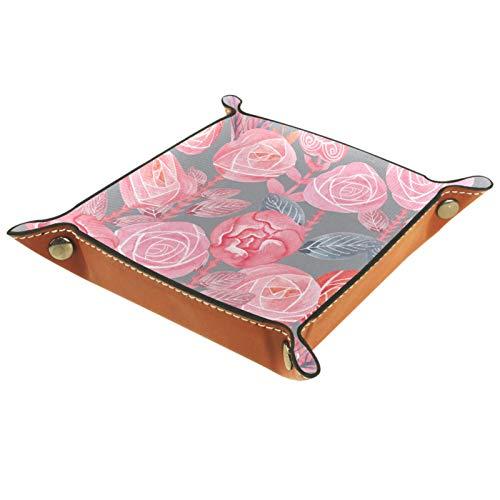 Bandeja de valet Organizador de escritorio Caja de almacenamiento Bandeja de almacenamiento floral de acuarela de cuero para uso doméstico
