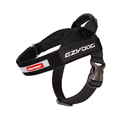 EzyDog Express Hundegeschirr - Norwegergeschirr für Kleine, Mittelgroße und Große Hunde, reflektierendes, Verstellbares, Gepolstertes Hundegeschirr. Perfekt zum Joggen und Radfahren (S, Schwarz)