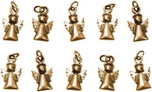 Angelo Custode Charms placcati Oro - Ciondolo Angioletto Protezione per Decorazioni, Gioielli e bomboniere Fai da Te Battesimo/Nascita per Bambino e Bambina - h 1,7 cm - 10 Pezzi