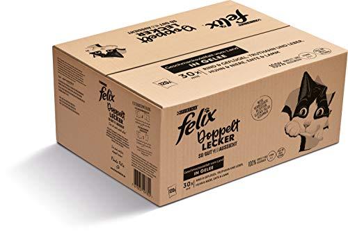 FELIX Katzennassfutter So gut wie es aussieht Doppelt Lecker in Gelee Geschmacksvielfalt vom Land 120 x 85 g