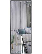 Homitt Magnetisch vliegengaas, deur, 110 × 220 cm, anti-scheur versterkt bovendeel, frame klittenbandsluitingen voor balkondeur, woonkamer, terrasdeur, montage zonder boren
