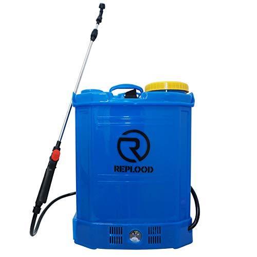REPLOOD Pompa Irroratrice Spalleggiata 16 Litri Con Batteria Ricaricabile 12V 8 Ah Peso 5Kg Irroratore