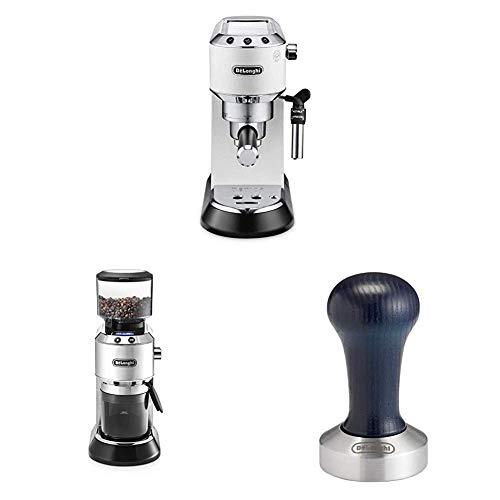 De'Longhi Espresso Siebträgermaschine, weiß + De'Longhi Elektrische Kaffeemühle, silber + DeLonghi Kaffee-Tamper aus Edelstahl mit Holzgriff, Schwarz, silber