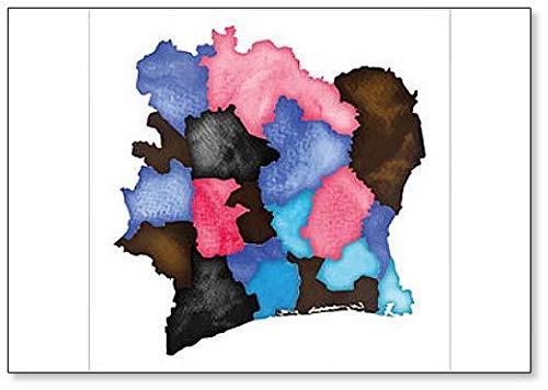 Kühlschrankmagnet, Motiv Küstenkarte, Aquarell, elfenbeinfarben