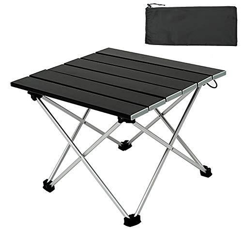 You\'s Auto Tragbarer Aluminium Klapptisch Campingtisch,Leichter Picknicktisch im Freien mit Tragetasche für Essen Schneiden Kochen Strand Wandern Angeln Grillen (Schwarz)