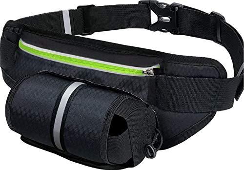Riñonera Cinturón para Correr Impermeable con Soporte para Botella de Agua Cinturón de Hidratación Reflectante para Correr Senderismo Viajar-Riñonera Negra (Negro)