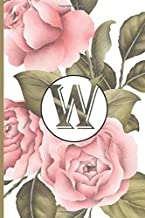 W: Calla lily notebook flowers Personalized Initial Letter W Monogram Blank Lined Notebook,Journal for Women and Girls , School Initial Letter W floral vintage pink peonies 6 x 9