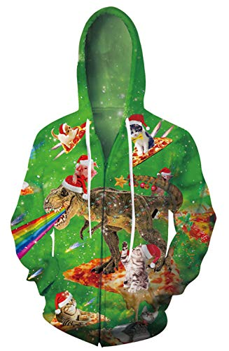 Goodstoworld 3D Blitz Dinosaurier Unisex Kapuzenjacke Reißverschluss Hoodies Bequem Luftdurchlässig Witzige Sweatjacke Mit Kordelzug Regenbogendinosaurier S