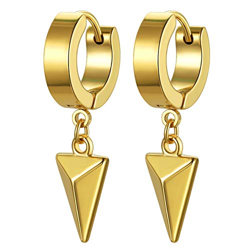 Gold Dainty Dangle Hoop Earrings for Women Men 18K Gold Plated Delicate Cute Geometric Triangle Cone Dangle Earrings