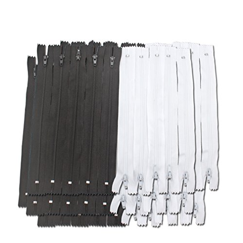 Amariver Black and White Nylon Coil Zippers, 100Pcs 9 Inches