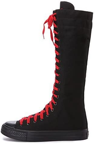 ANUFER Girls Women Fashion Knee High Lace-Up Canvas Boots Pure White Black Zip Dance Boots