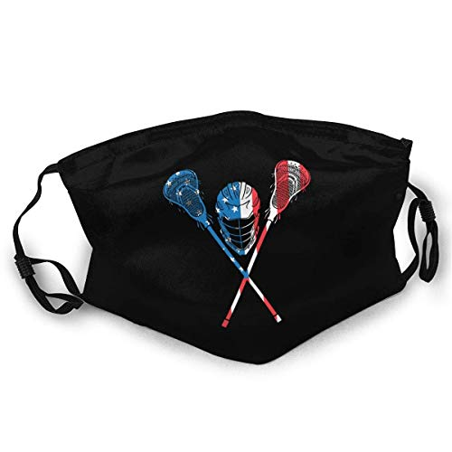 Lacrosse American Flag Lacrosse Player USA Reusable Face Mask Outdoor Unisex Dust Cloth Mouth Mask