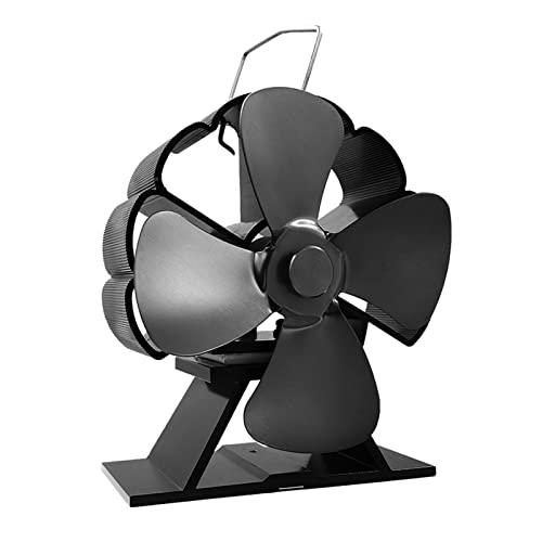 FLLOVE FANGLIANG Mini Estufa Negra Ventilador de Ventilador 4 Blade de Calor Chimenea de Chimenea Ventilador Powered Log Burner Ecofan Quiet Fan Distribución de Calor (Color : Black)