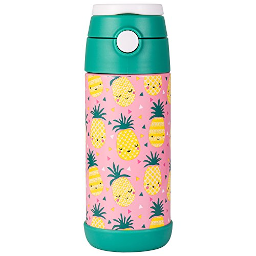 Snug Flask for Kids - Vacuum Insulated Water Bottle with Straw (Pineapple)