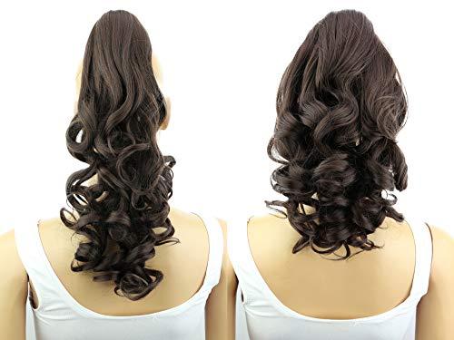 PRETTYSHOP 2 IN 1 30cm Und 40cm Haarteil Zopf Pferdeschwanz Haarverlängerung Voluminös Gewellt Dunkelbraun H20-2