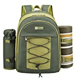 ALLCAMP OUTDOOR GEAR 2 Person Blue Picnic Backpack Hamper with Cooler Compartment Includes...