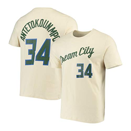 LSJ-ZZ La Camiseta Bucks de Milwaukee Ropa de Baloncesto de la NBA de los Hombres # 34 Antetokounmpo Cuello Redondo Retro jeysey, Fitness Sports Superior Respirable,A,XXXL:185~190cm