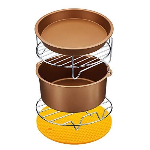 6-teiliges Antihaft-Luft-Fritteusen-Zubehör-Set, 17,8 cm, Kuchen-, Pizza-, Grill-, Brat-, Backutensilien für 3,2–5,8 QT