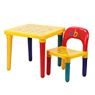 KingSaid Kids Table and Chair Set ABC Alphabet Table Furniture Child Learn & Play Educational Presen...
