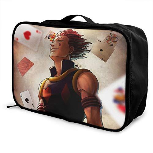 Hisoka Bolsa de viaje impermeable a la moda, ligera, de gran capacidad, portátil, bolsa de equipaje de fin de semana, bolsa de equipaje durante la noche