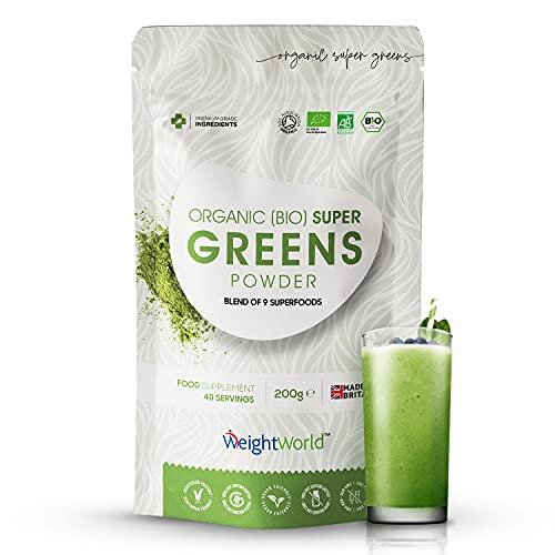 Super Greens Bio 200g - Poudre de Guarana Bio, Matcha, Herbe de Blé, Chlorella Powder (Chlorophylle), Acai, Orge, Baobab, Lin, Maca - Sans Additifs - Source de Vitamines, Minéraux, Acides Aminés