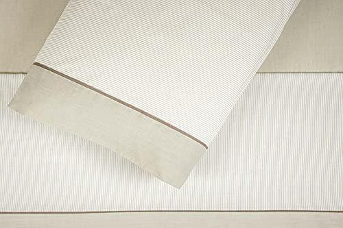 Burrito Blanco Juego de Sábanas de Rayitas 297 para Cama de Matrimonio de 135x190 cm hasta 135x200 cm, Color Beige