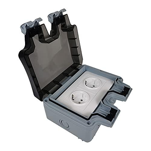 Enchufe de pared para IP66 para exteriores, resistente al agua y al polvo, toma de corriente resistente al agua, toma de corriente con tapa abatible para interior y exterior, enchufe de exterior