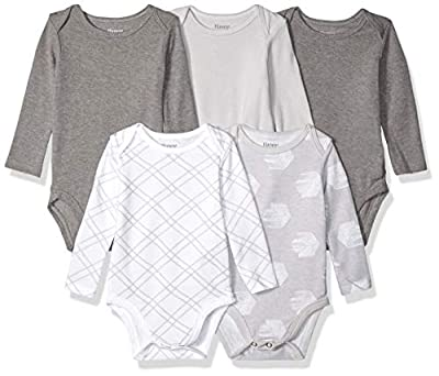 Hanes baby boys Ultimate Flexy 5 Pack Long Sleeve Bodysuits Bodystocking, Grey Fun, 0-6 Months US