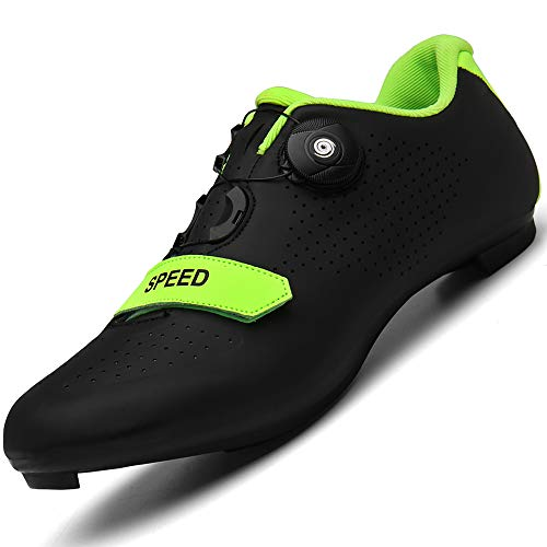 Generic Men Road Bike Cycling Shoes Premium Microtex Shoes with Cleat Men SPD Shoes Black White Men Cycling Spinning Shoes, 12