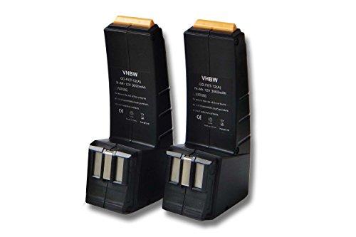 vhbw Sparset 2x Ni-MH Akku 3000mAh (12V) passend für Werkzeuge Festo Festool CCD12ES-C, CCD12FX, CCD12MH, CCD12v, CDD12, CDD12E, CDD12ES, CDD12ESC.