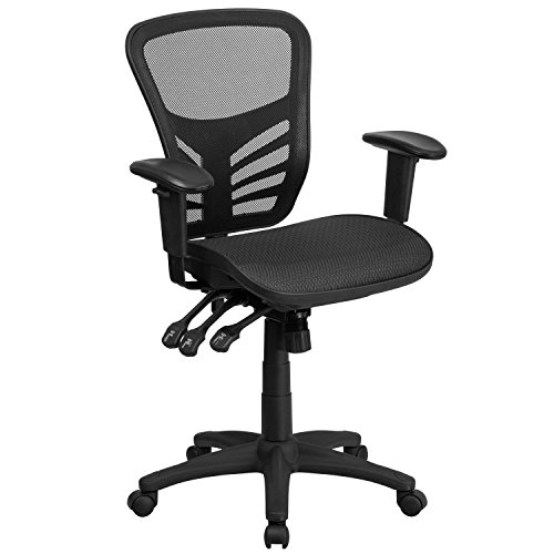 Flash Furniture Mid-Back Transparent Black Mesh Multifunction Executive Swivel Ergonomic Office Chair with Adjustable Arms, BIFMA Certified