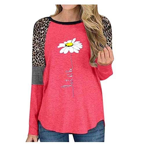 CHMORA Damen Langarm Leopard Streifen Stitching Daisy Print Top Herbst und Winter...