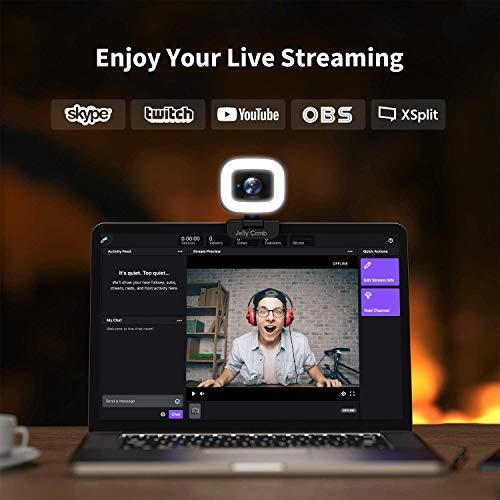 Jelly Comb 1080P Webcam mit Stereo Mikrofon, 60f/s Live-Streaming Webcam mit Ringlicht, Webkamera mit 3-stufige einstellbare Helligkeit, USB Kamera für PC/Videochat-Aufnahme/Mac/Laptop/Zoom/Skype