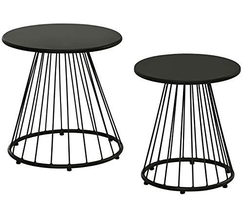 Dehner Beistelltisch-Set Venezia, Ø 42/50 cm, Höhe 43.5/48.5 cm, Metall, dunkelgrau