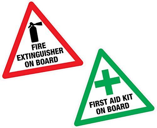 First Aid &extincteur à bord 2 x Sticker vinyle-étiquette-Taxi-Van-Bus