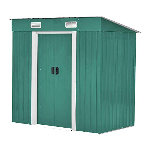 FIDOOVIVIA Outdoor Metal Garden Storage Shed Box Waterproof Anti-corrosion with 2 Sliding Doors, 4 Vents and Floor Foundation(4Ft X 6Ft, Green)