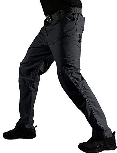 TACVASEN ワークパンツ ミリタリー 戦闘服 パンツ サバゲーイージーパンツ 無地 チノパンツ ストリート 作業パンツ 夏用 耐久性 ブラック XL