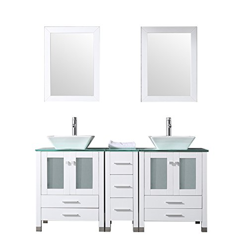 """WONLINE 60"""" White Double Wood Bathroom Vanity Cabinet and Round Ceramic Sink w/Mirror Combo Wash Basin with Faucet (Square)"""