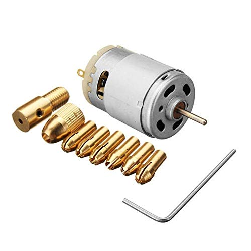 OGUAN Drill Chuck, Drill Accessories, DC 12V 500mA Motor With 5pcs 0.5-3.0mm Drill Collet Electric PCB Tool Set